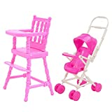 2 Pcs Dollhouse Accessories,Stroller for Dolls High Chair+ Baby Stroller Carriage Doll House Furniture Accessories for Barbie Children Girls Gift