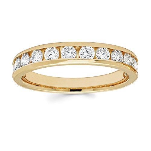 14K Yellow Gold Diamond Wedding Anniversary Band Ring (1.00 Cttw, I Color, I1 Clarity)