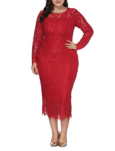 Womens Plus Size Lace Dresses Formal Floral Lace Dress Long Sleeve Midi Dress for Cocktail Evening Wedding Party Work Wine Red