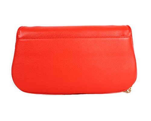 Burch Women's Red Leather Crossbody 39055 Chain Poppy handbag Britten Clutch Tory BYdv1Bx