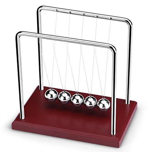 ScienceGeek Classic Newton's Cradle Balance Balls Red Large Wooden Base