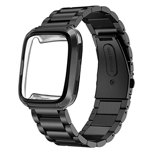 Maxjoy for Fitbit Versa Bands, Stainless Steel Band Large Small Solid Metal Replacement Strap Adjustable Bracelet Wristband for Men Women with Protective Cover Case for Fitbit Versa Smart Watch, Black