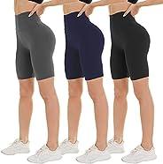 "NexiEpoch 3 Pack Biker Shorts for Women High Waist - 8"" Tummy Control Non See - Through for Workout Yoga"