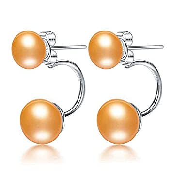 725385474ab02 Amazon.com: Fine Double Pearl Earrings Genuine Natural Freshwater ...