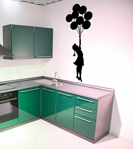 AnOL (19x50 cm) Banksy Vinyl Wall Decal Escapism Stunning Girl with Balloons/Street Graffiti Art Decor Sticker/Home DIY Mural! + Free Random Decal Gift