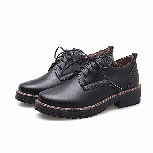 Carolbar Mujeres Lace Up Retro Moda Casual Comfort Oxfords Zapatos Negro