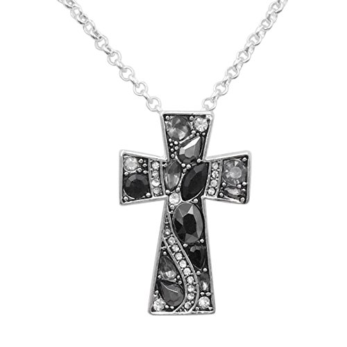 Simple Christian Cross Rhinestone Bling Silver Tone Necklace (Black Grey Clear)