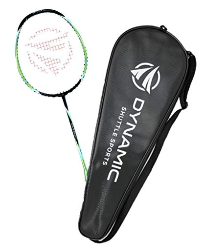 Dynamic Shuttle Sports Titan G-Force 7 Professional Carbon Fiber Badminton Racquet, Lightweight Badminton Racket Including Cover (Green)