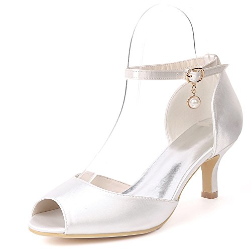 peep Toe L Fiesta Talones Tamaño Dama Honor Bajos Plataforma Las Perlas Colgante De Mujeres Boda Zapatos White yc anqaFU1