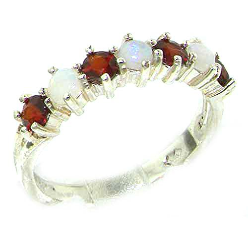 925 Sterling Silver Natural Opal & Garnet Womans Eternity Ring - Size 8.5