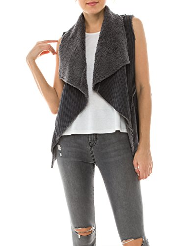 BOHENY Womens Faux Fur Shearling Fully Lined Suede Vest Coat with Stripe - Vest Leather Lined Fully