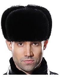 73da0ab31ce Russian Fur Ushanka Hat Mens Winter Real Min Fur Trapper Cap