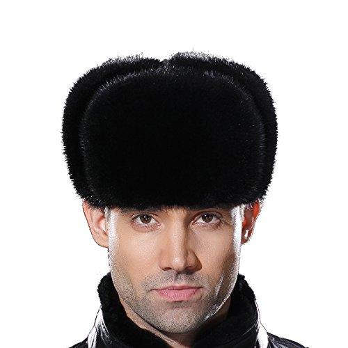 URSFUR Russian Fur Ushanka Hat Mens Winter Real Min Fur Trapper Cap Black L by URSFUR