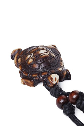 [Cord Necklace Bone Imitation Carving Tribal Turtle Charm Pendant Men Women Unisex (Beige, Turtle)] (Bone Shell Necklace)