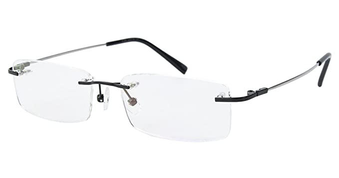 25370aea1f8 Agstum Titanium Alloy Flexible Rimless Frame Prescription Eyeglasses (Black)