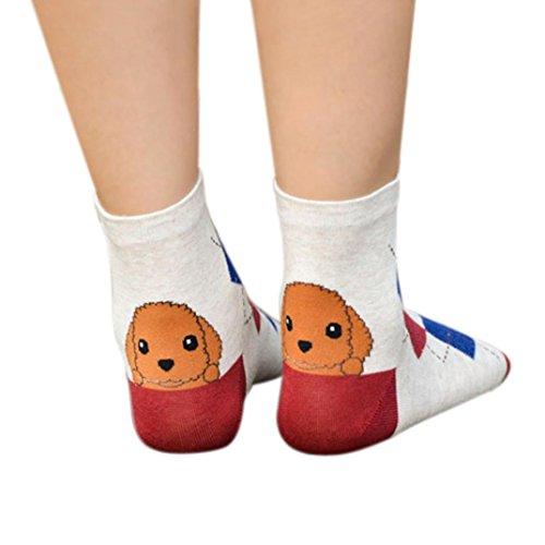 Perman Women Cute 3D Cartoon Animals Striped Sock Puppy Footprints Cotton Socks (Red ) ()