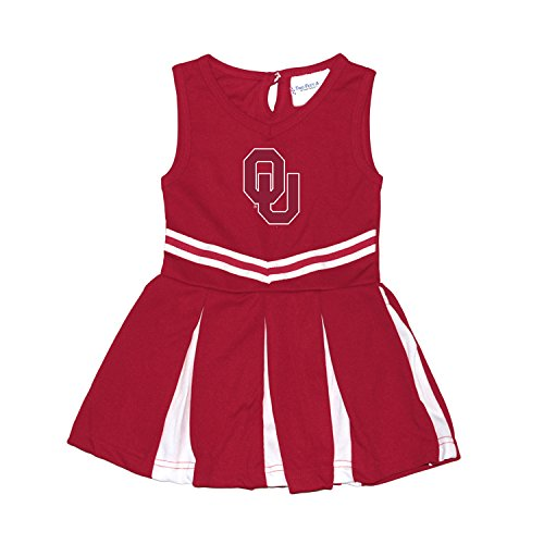 Two Feet Ahead Oklahoma Sooners NCAA Newborn Infant Baby Cheerleader Bodysuit Dress (12 (Baby Infant Cheerleader Dress)