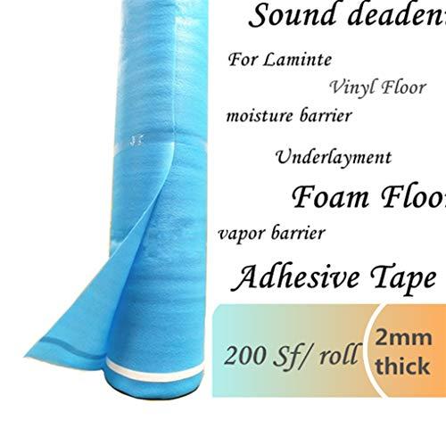 200 Sqft 2mm Underlayment for Laminate Flooring 3in1 Vapor Barrier Flooring Underlayment w/Overlap & Tape. Moisture Barrier Underpad Underlay for Laminate Flooring, Hardwood Floor, Vinyl Floor