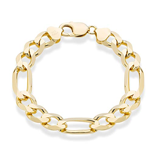 - MiaBella 18K Gold Plated Sterling Silver Italian 11mm Solid Diamond-Cut Figaro Chain Bracelet for Men, 8