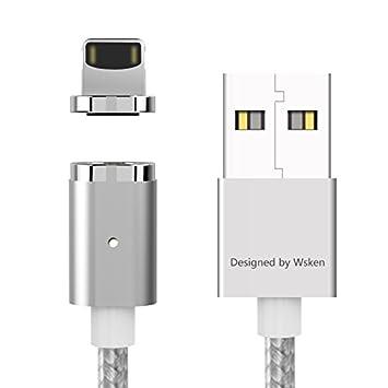 Câble de foudre magnétique, Câble de charge rapide 2.4A en nylon SyncBraided Wsken Mini 2 pour iPhone et appareil à 8 broches, argent, 1 m