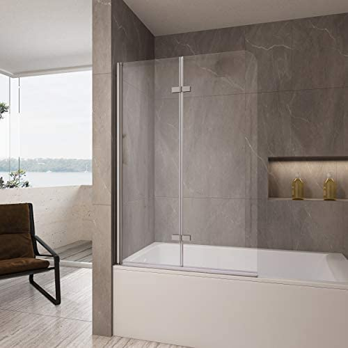 Aquabatos Fold Swing Shower Door Hinged Bathtub Door 36 in. W x 57 in. H Frameless Bi-Fold Tub Door in Chrome