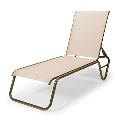 Telescope Casual Furniture 808A20D01 Gardenella Sling Collection Four-Position Lay-Flat Stacking Aluminum Armless Chaise, Natural, Aged Bronze Finish