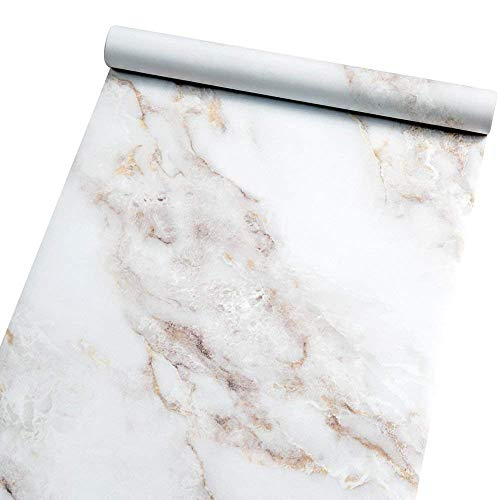 - Homein Marble Self Adhesive Paper White 23.6 by 78.7 inch Peel and Stick Vinyl Film for Furniture Decorative Matte Granite Cover Waterproof Removable Wallpaper Roll for Countertops Cabinet