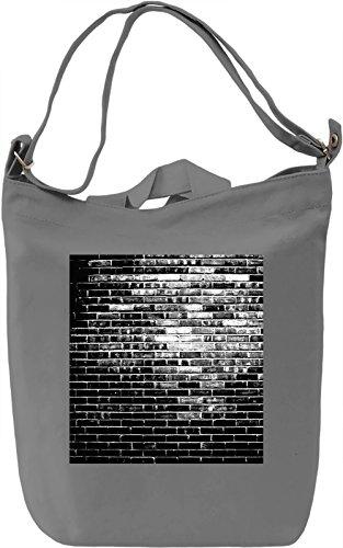 Black Wall Print Borsa Giornaliera Canvas Canvas Day Bag| 100% Premium Cotton Canvas| DTG Printing|