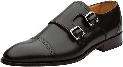 3DM Lifestyle Handcrafted Genuine Leather Mens Double Monk Strap Modern Classic Dress Shoes Black
