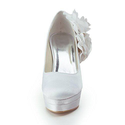 Minitoo TMZ372 Women's Platform Flowers Satin Bridal Wedding Evening Formal Party Pumps Shoes Ivory-12cm Heel K11r8Dp
