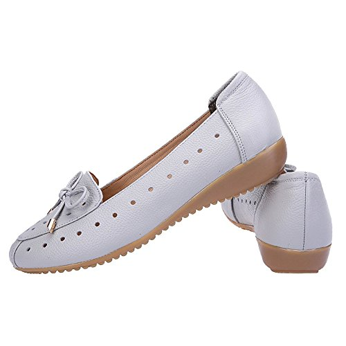 Jamron hollowed Slippers Grey Loafer Breathable Wedge Hollowed Comfort Genuine Women Moccasins Out Leather Summer Heel UqU1rwg