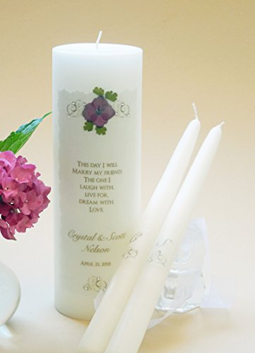 - Gold Elegance Wedding Unity Candles - Pink Hydrangea