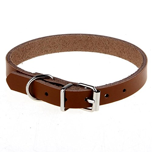Cow Leather Dog Pet Cat Puppy Collar Neck Adjustable Gift Buckle Strap Cut Necklace (Leather Cat Collar)