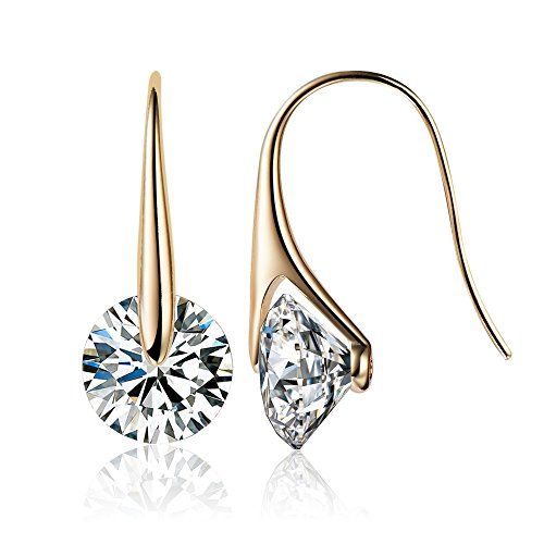 - Mestige Eclipse Earrings with Swarovski Crystals (Gold) Gifts Women Girls, Classic Drop Hook Dangle-Earrings