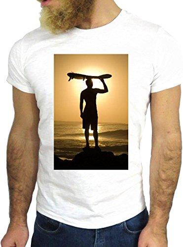 T-SHIRT JODE GGG24 Z1038 OCEAN MAN BOY GUY SURF LANDSCAPE UK AMERICA SUN BIANCA - WHITE L