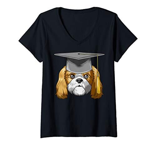 Womens Shih Tzu Graduation Graduate Hat Shih Tzu V-Neck T-Shirt