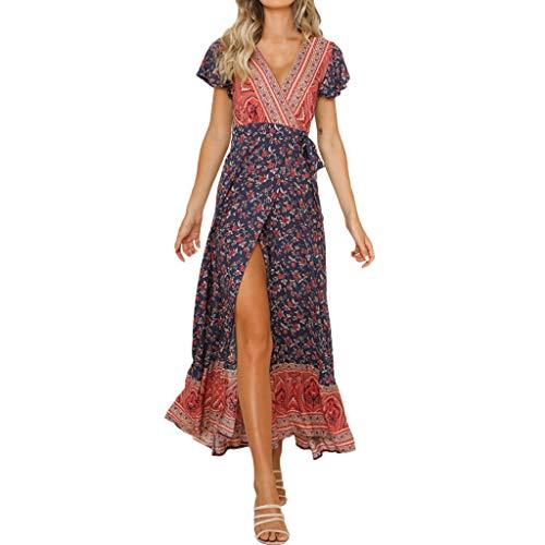 Sagton Womens Deep V Neck Bohemia Print High Waist National Style Long Dress Navy