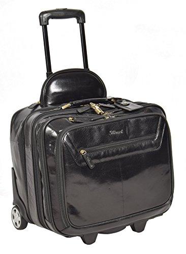 Echtes Leder Pilotenkoffer auf Räder Flug Arbeit Laptop Trolley Kabine Tasche HLG891 Schwarz