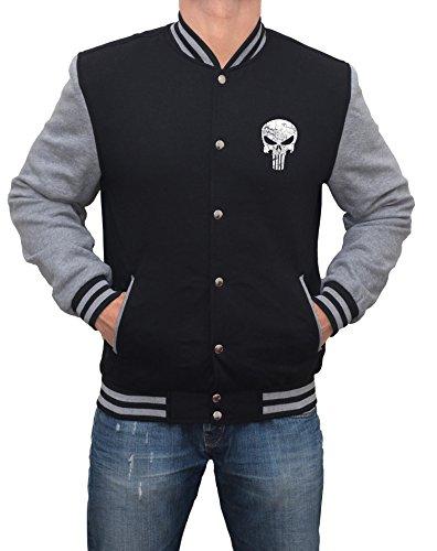 [Mens Punisher Skull Face Logo Varsity Jacket | Black with Grey Sleeve, XL] (Punisher Outfit)