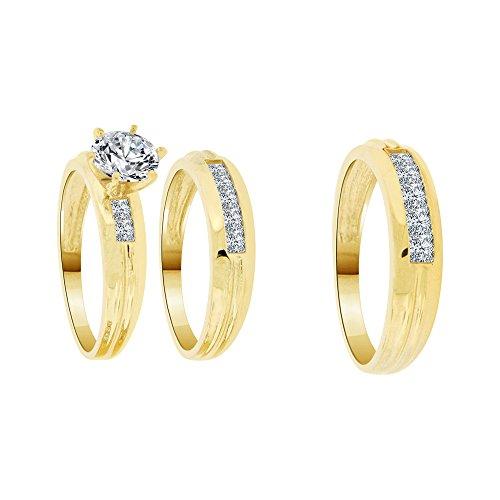 14k Yellow Gold, His & Her Set Trio Three Piece Wedding Ring Lab Created Gems 1.0ct