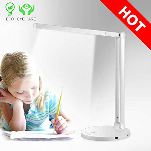 LED Desk Lamp, Eye-Caring Folding Table Lamps, Office Lamp, Touch Control, for Reading, Studying, Working, Perfect for Kids and Adults, White, [Energy Class A++] (White mode2) - Folding Compact Lamp