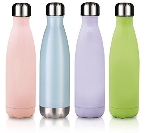 MIRA 17 Oz Stainless Steel Vacuum Insulated Water Bottle | Leak-proof Double Walled Cola Shape Bottle | Keeps Drinks Cold for 24 hours & Hot for 12 hours | 17 Oz (500 ml) | Cactus Green