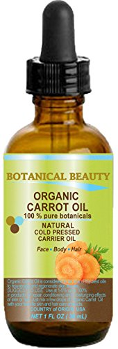 CARROT OIL ORGANIC 100% Natural / Pure Botanicals / Cold Pressed Carrier Oil 1 Fl. oz. -30ml. For Face, Body, Hair and Nail Care. by Botanical Beauty
