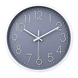 jomparis 12 Inch Modern Gray Wall Clock Non-Ticking Silent Battery Operated Round Decorative Wall Clock