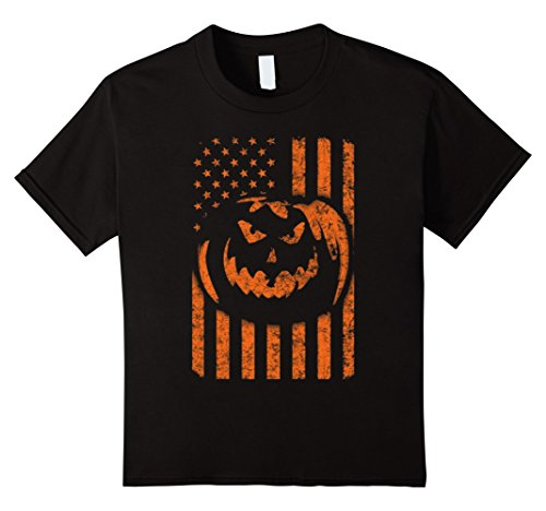 Black Flag All Costumes (Kids American flag pumpkin Halloween 2017 TSHIRT COSTUME ALL SIZE 4 Black)