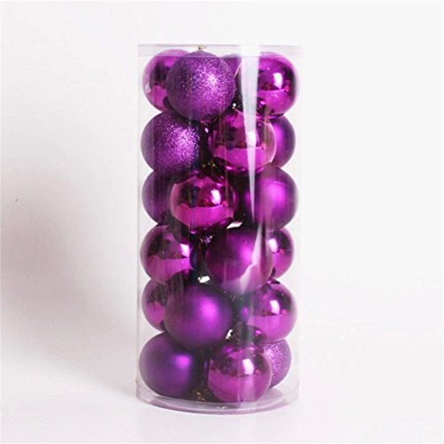 Purple Christmas Holiday Ornaments - 6