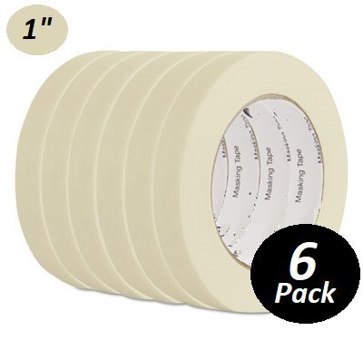 "1InTheOffice General Purpose Masking Tape, 3/4 Inch x 60 Yards, 3"" Core, 6/Pack"