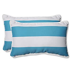 Pillow Perfect Outdoor Cabana Stripe Rectangular Throw Pillow, Turquoise, Set of 2