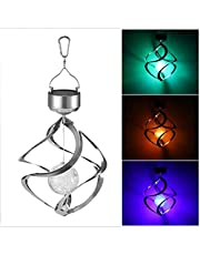 Solar Revolving Wind Chimes, LED Color Changing Hangende Wind Light Waterdichte Spiral Spinner Lamp Outdoor decoratief licht voor tuin Balkon Patio
