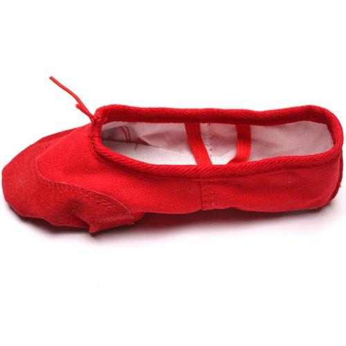 HENGSONG Kindermädchen Weiche Sohle Tanz Ballett Schuhe Komfortable Fitness Atmungsaktive Leinwand Praxis Gym Hausschuhe (Asian Size 29 Länge 18.5cm, Rot)